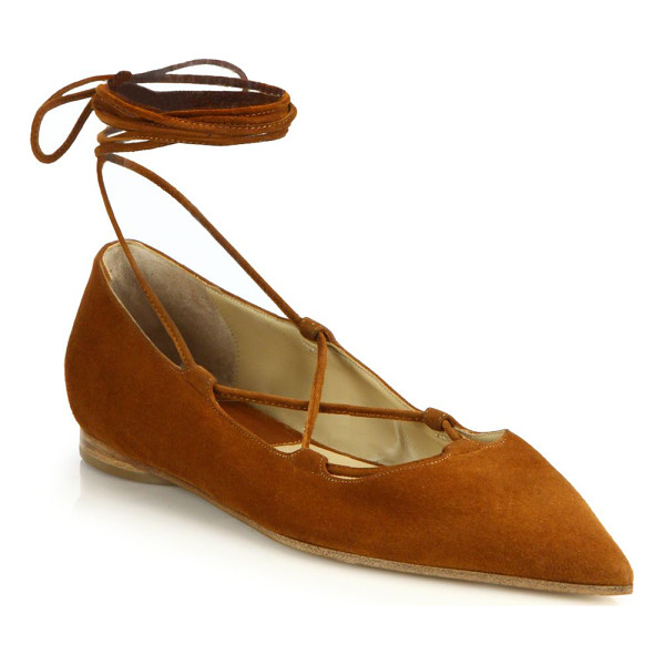 MICHAEL KORS COLLECTION Kallie runway suede lace-up flats - Elegant suede flats secured by sleek lace-up detailSuede...