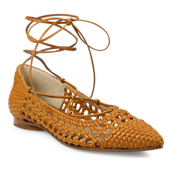 MICHAEL KORS COLLECTION Kallie woven leather lace-up flats - Basket-weave leather flats with lace-up stylingLeather...