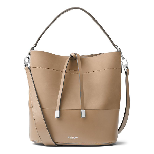 MICHAEL KORS COLLECTION miranda medium leather bucket bag - Structured paneled leather bucket bag with weighted tie.
