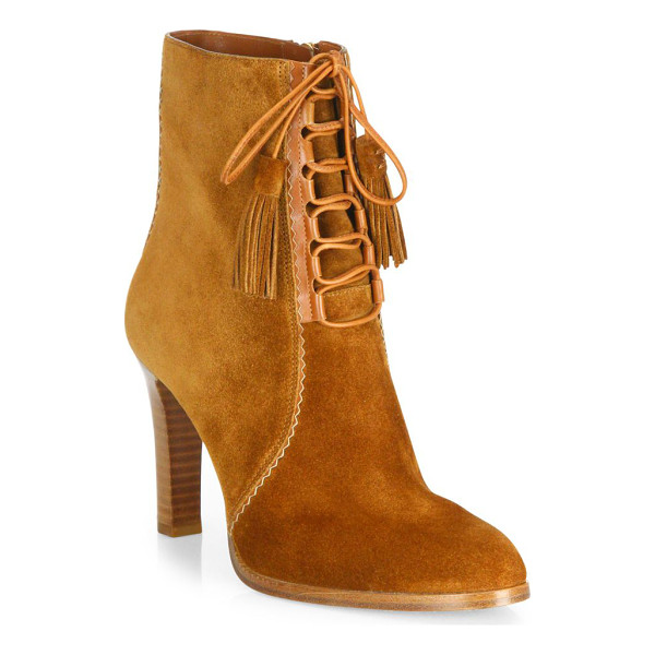 MICHAEL KORS COLLECTION odile suede lace-up booties - Luxe suede lace-up bootie with tonal tasseled tips. Stacked...