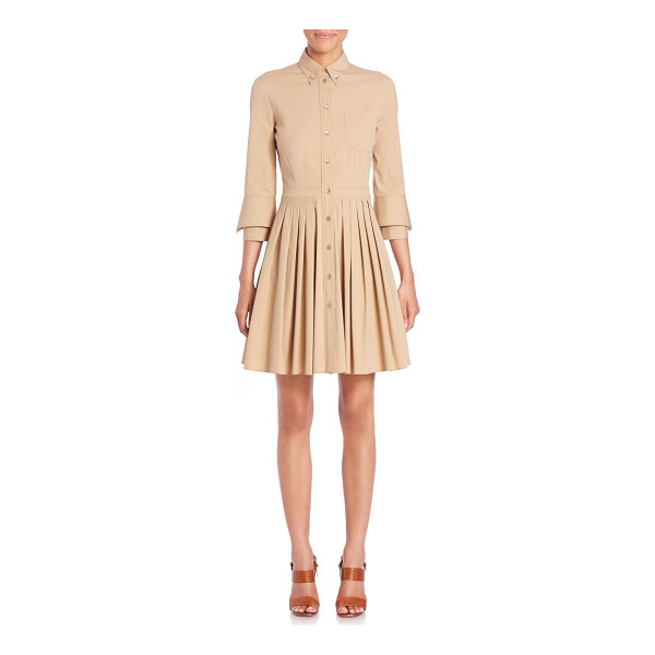 MICHAEL KORS COLLECTION Pleated a-line shirtdress - Modern shirtdress with structural pleatingButton-down point...