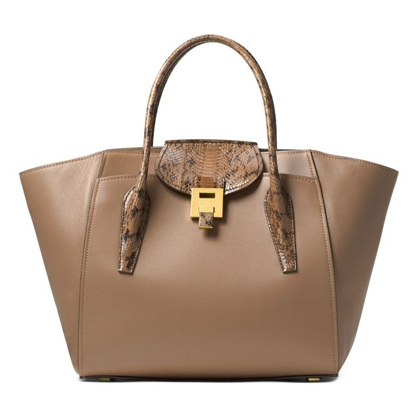 MICHAEL KORS COLLECTION textured handles leather satchel - Leather satchel featuring snap closure at back. Double top...