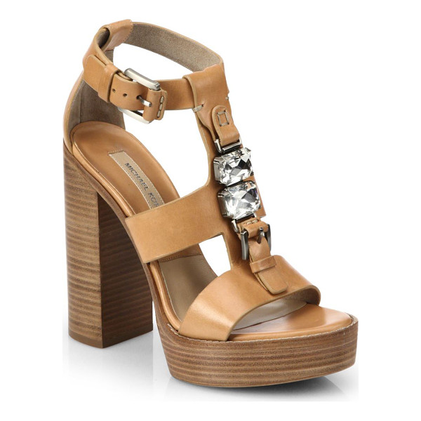 MICHAEL KORS Jayden runway leather platform sandals - Crafted in rich Italian leather, these stacked-heel...
