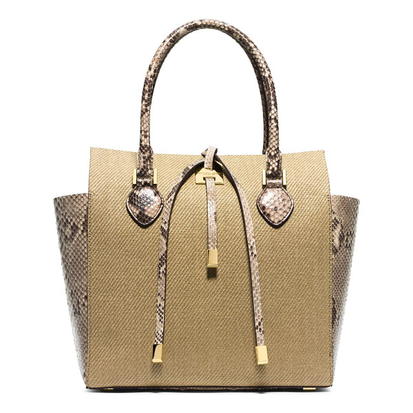 MICHAEL KORS Miranda medium python-trimmed woven tote - A subtle trapeze silhouette and metal-tipped ties lend...