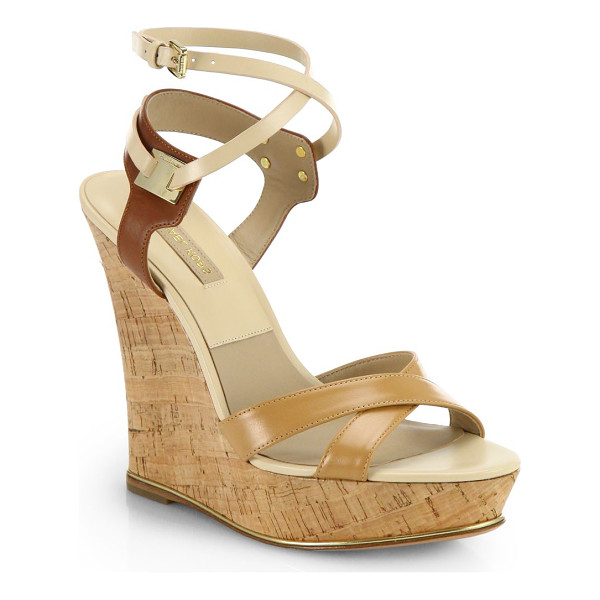 MICHAEL KORS Shana strappy leather cork wedge sandals - Towering cork wedges rendered in supple leather with...