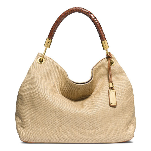 MICHAEL KORS Skorpios large braided-handle woven hobo bag - Crafted from a woven blend with just a bit of slouch, this...