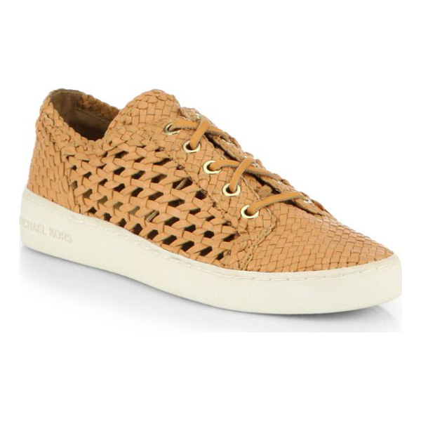MICHAEL KORS violet woven leather lace-up sneakers - A logo-detailed platform anchors these casual-cool kicks...