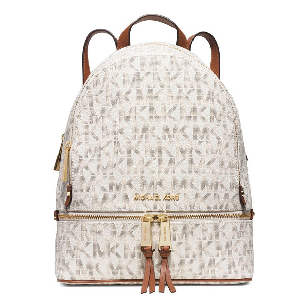 MICHAEL MICHAEL KORS rhea medium faux-leather backpack - Structured faux-leather backpack with MK logo pattern. Top...