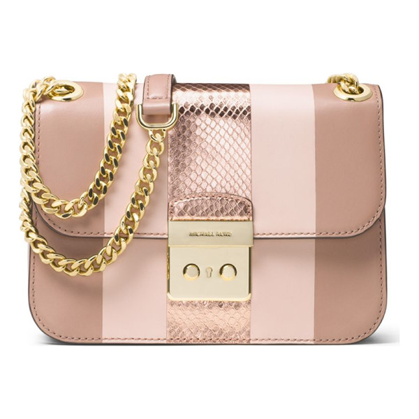 MICHAEL MICHAEL KORS sloan editor medium striped leather & metallic snakeskin chain shoulder bag - Boxy striped bag inset with metallic snakeskin panel.