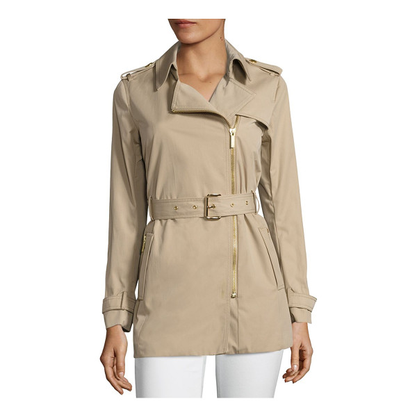 MICHAEL MICHAEL KORS assymetrical zip trench coat - On-trend trench coat highlighted with asymmetrical front...