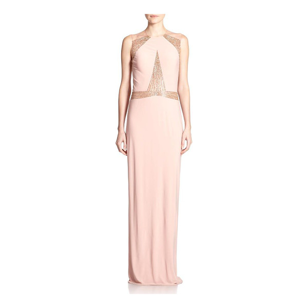 MIGNON Paneled jersey gown - Angular beaded panels dress up this fluid jersey gown,...