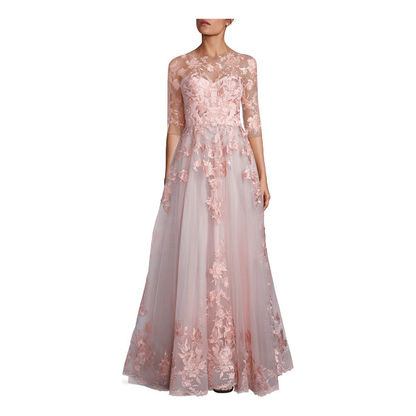 MIKAEL D blush floral embroidered tulle gown - Voluminous tulle gown with custom silk thread embroidery....