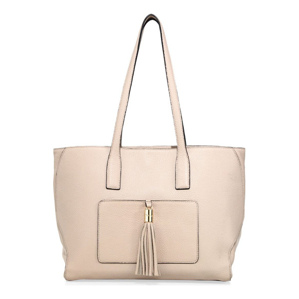 MILLY astor large pebble leather tote - Sophisticated pebble leather tote accentuated with tassel.