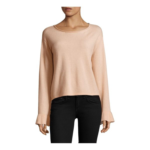 MILLY cashmere flare sleeves - Cashmere sweater with ribbed cuffs. Roundneck. Long flare...