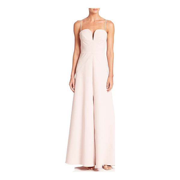MILLY italian cady ana gown - Feminine A-line gown updated with front slit. Notched...