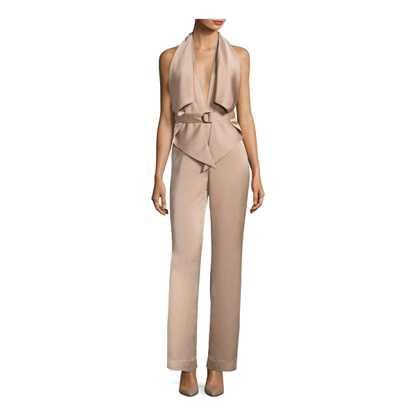 MISHA COLLECTION bailey sleeveless pantsuit - Refined silhouette updated with edgy trims on front. Halter...