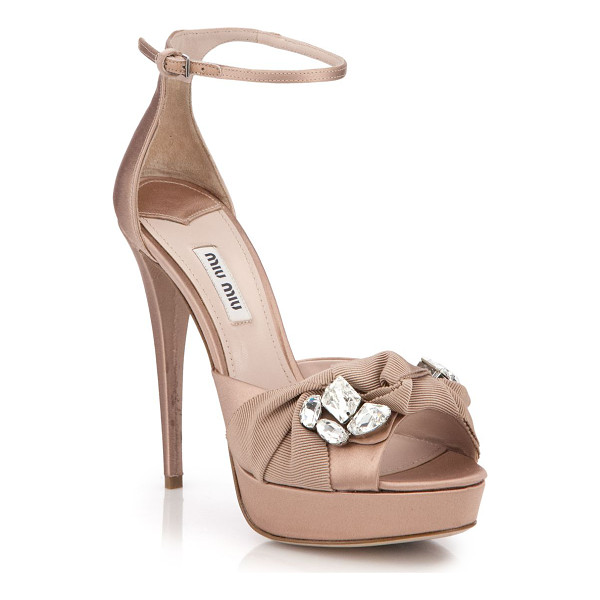MIU MIU Crystal & ribbon-embellished satin sandals - These elegant satin sandals are glamorously adorned with...