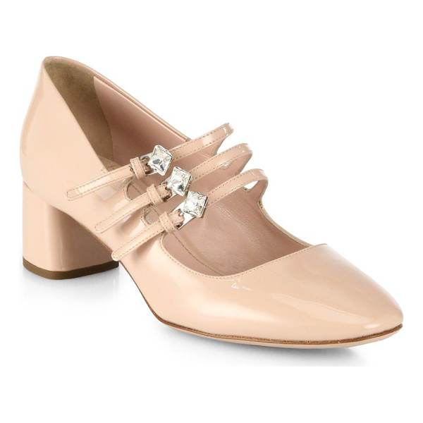 MIU MIU crystal-strap patent leather mary jane pumps - Trio of jeweled straps secure patent Mary Jane pump....