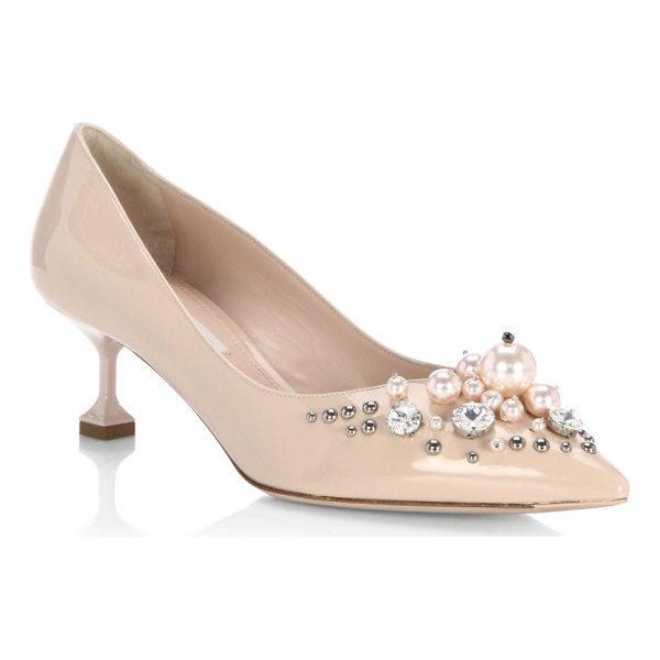 MIU MIU embellished patent leather pumps - Leather pumps with pearl and stud details on toe. Kitten...