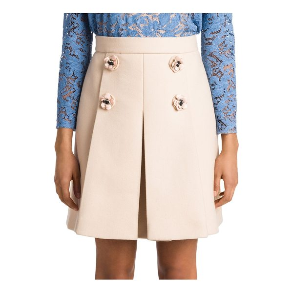 MIU MIU floral wool skirt - Pleated wool skirt accented with floral buttons. Double...