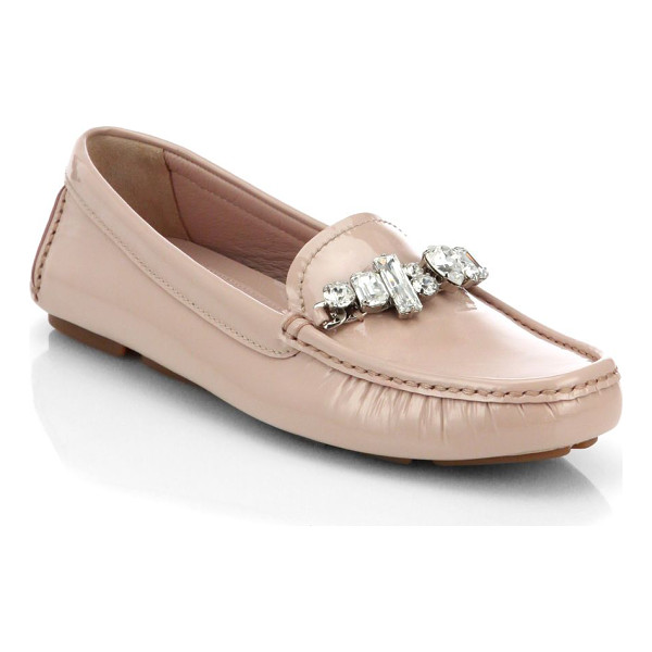 MIU MIU Swarovski crystal patent leather loafers - Go-anywhere wardrobe staple in lustrous patent leather...