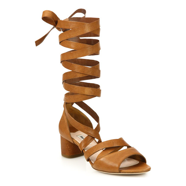 MIU MIU Leather lace-up gladiator sandals - Strappy leather block-heel sandal in tall lace-up...