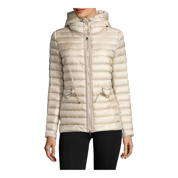MONCLER raie hooded down puffer jacket - Hooded channel-quilted puffer cinched at the waist....