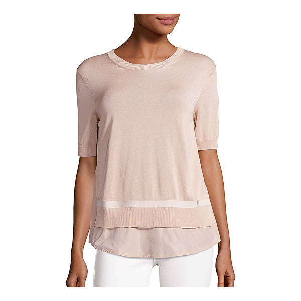 MONCLER short-sleeve knit top - Ribbed trim details this short-sleeve top. Roundneck. Short...