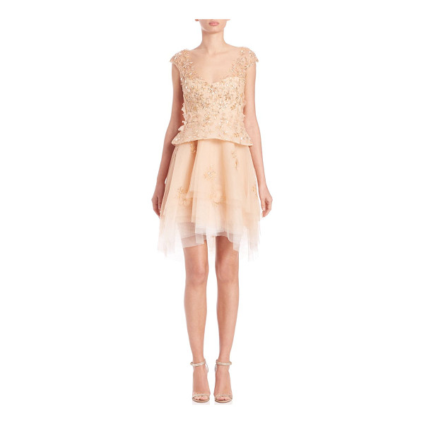 MONIQUE LHUILLIER BRIDESMAIDS Beaded peplum dress - Peplum dress with tulle skirt and beaded...