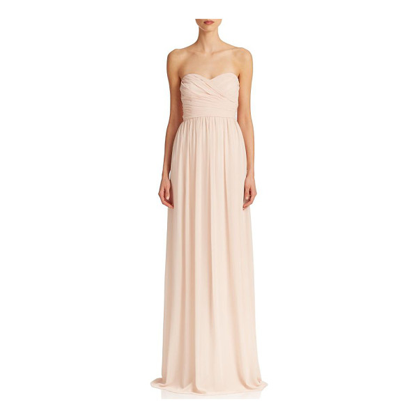 MONIQUE LHUILLIER BRIDESMAIDS pleated chiffon sweetheart gown - A sweetheart neckline enchants this chiffon gown, defined...
