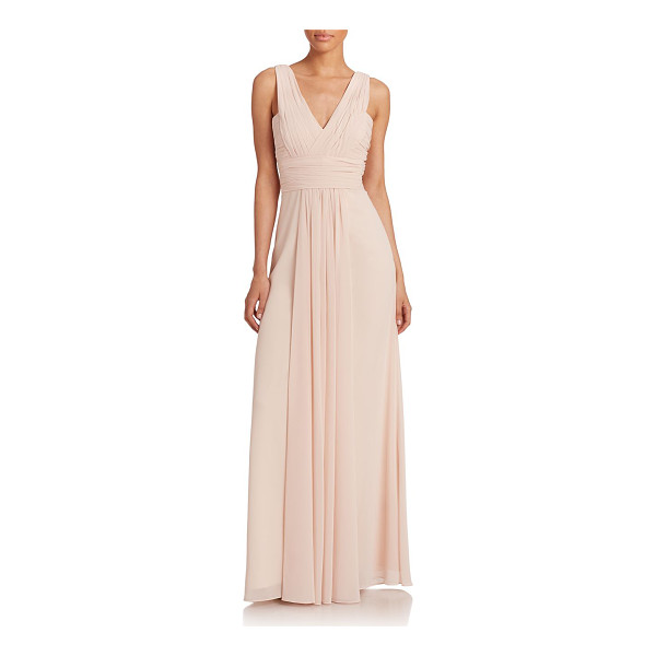 MONIQUE LHUILLIER BRIDESMAIDS Pleated chiffon v-neck gown - A pleated v-neck is the focal point of this dreamy...
