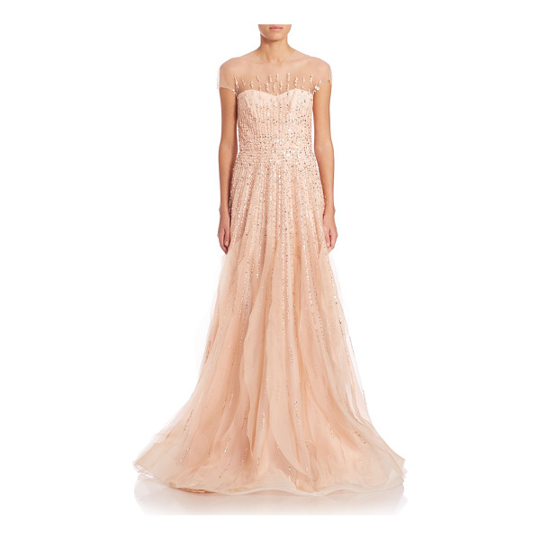 MONIQUE LHUILLIER BRIDESMAIDS Cap-sleeve embroidered illusion gown - Gorgeous, dramatic illusion gown flaunts enchanting beaded...