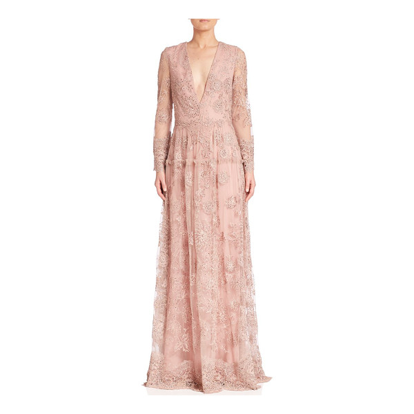 MONIQUE LHUILLIER BRIDESMAIDS embroidered long-sleeve gown - Delicate embroidery renders elegance to the gown. Plunging...
