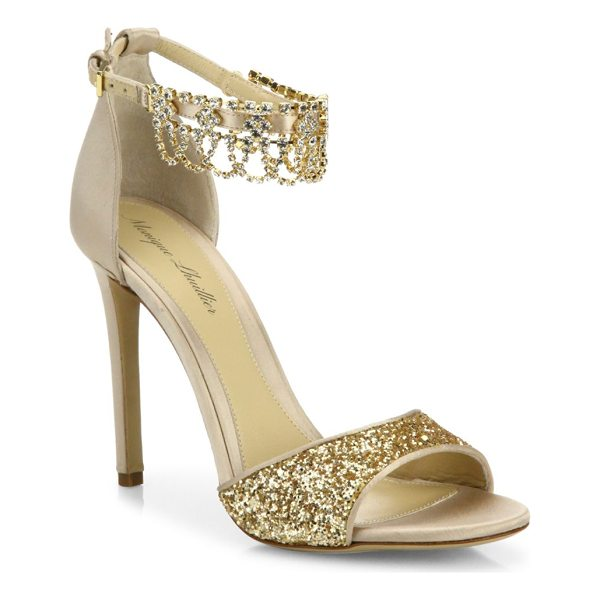 MONIQUE LHUILLIER BRIDESMAIDS evelyn jeweled suede & glitter sandals - Glamorous glitter sandal with jeweled ankle strap....