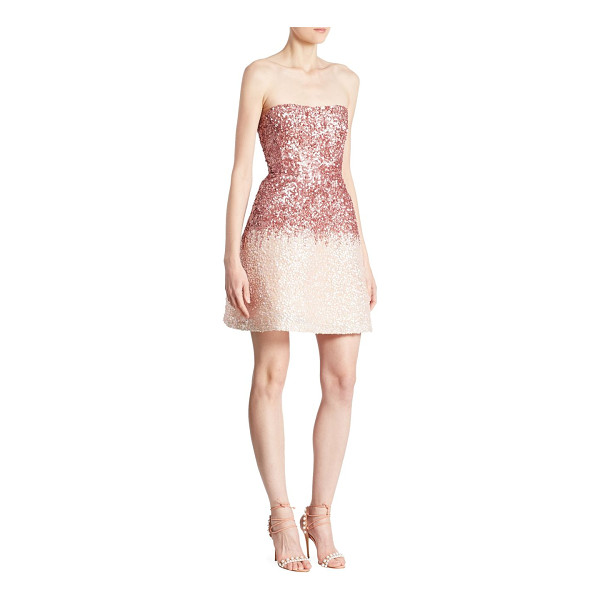 MONIQUE LHUILLIER BRIDESMAIDS strapless mini dress - Sequin embroidery highlights this radiant mini dress....