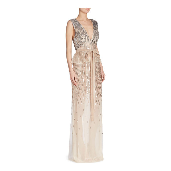 MONIQUE LHUILLIER BRIDESMAIDS v-neck peplum gown - Peplum gown in radiant sequin embellished detail.V-neck....