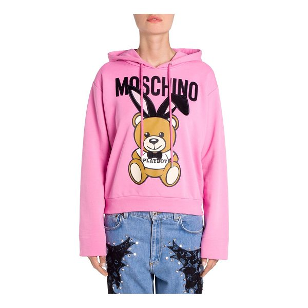 MOSCHINO cotton playboy bear hoodie - Cotton hoodie with playful bear graphic features velvet...
