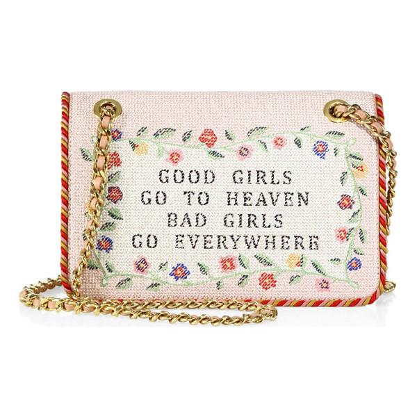 MOSCHINO embroidered chain shoulder bag - Wide embroidered style with needlepoint-print text....