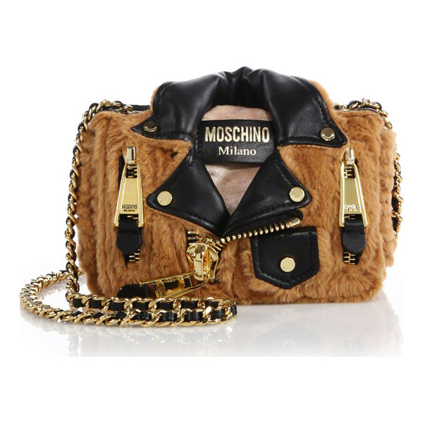 MOSCHINO Moto jacket small faux fur crossbody bag - The biker-chic appeal of a moto jacket in the form of a...