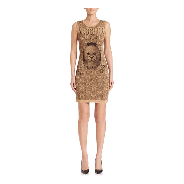 MOSCHINO Sleeveless bear-print sheath dress - Tongue-in-cheek sheath with signature bear...