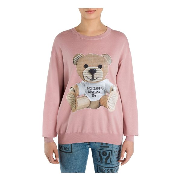 MOSCHINO wool teddy bear sweater - Wool sweater with cardboard teddy bear accent. Roundneck....