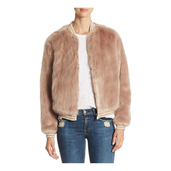 MOTHER letterman faux fur jacket - Unique faux fur jacket with rib-knit cuffs and hem. Stand...