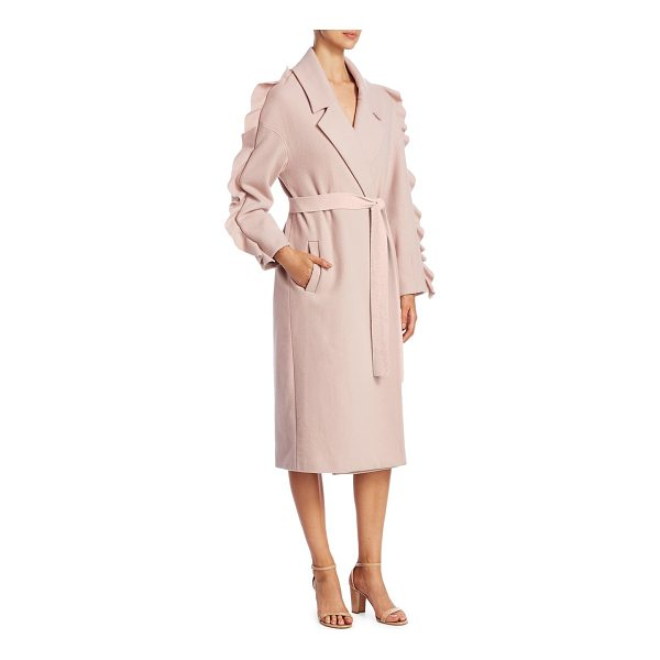 MOTHER OF PEARL bexley wool wrap coat - Deluxe wool coat with dramatic ruffles at sleeve. Notch...