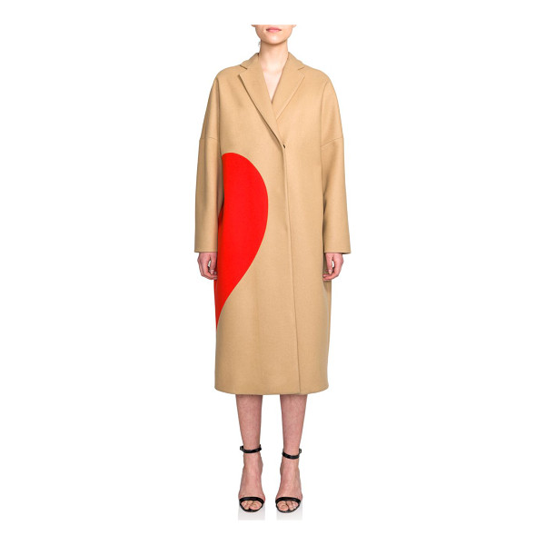 MSGM Long stretch-wool heart coat - MSGM elevates the beloved, wool-blend camel coat with...