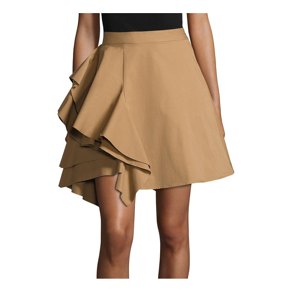 MSGM poplin side ruffle skirt - Chic skirt elevated with eye-catching ruffle detail. Banded...