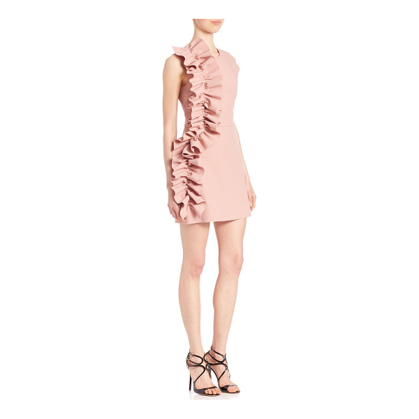MSGM Ruffle sheath dress - Sculptural ruffle accents sheath dress. Roundneck....