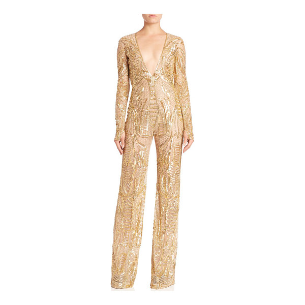 NAEEM KHAN beaded v-neck jumpsuit - Sleek one-piece with evening-ready beaded...