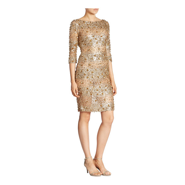 NAEEM KHAN three-quarter sleeve dress - Three-quarter sleeve dress in a shimmering beaded design....
