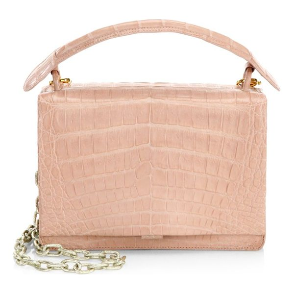 NANCY GONZALEZ embossed square top handle bag - Exotic top handle leather bag with embossed design. Top...