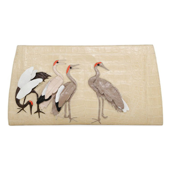 NANCY GONZALEZ bird crocodile slicer clutch - Slender crocodile clutch with 3D bird appliques. Hinged